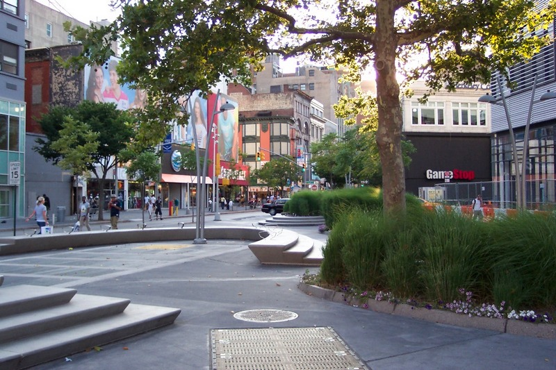 Fulton Mall, Brooklyn, July 2012. This seating area at the eastern end of the Mall was reclaimed from the street by the recent mall makeover. Photo: Wayne Fields.