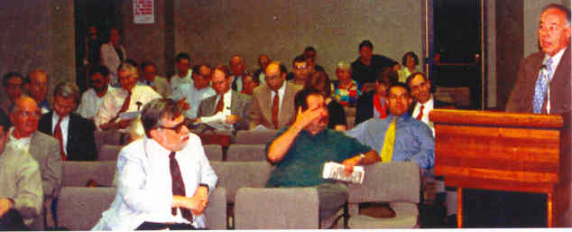 George (in front row) at an MTA Lower Manhattan Access public hearing circa 2002