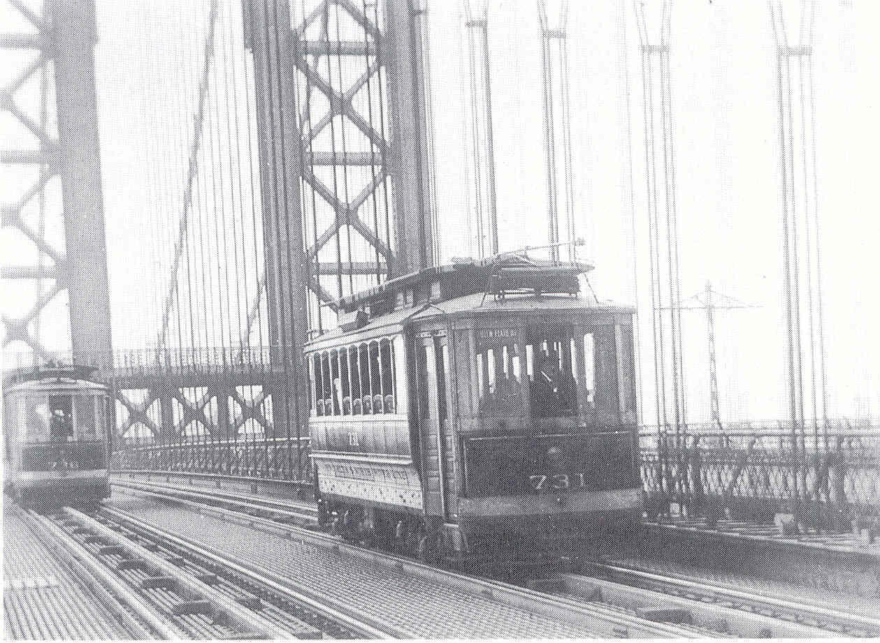 'Rare view of trolley on the upper level of the Manhattan Bridge.