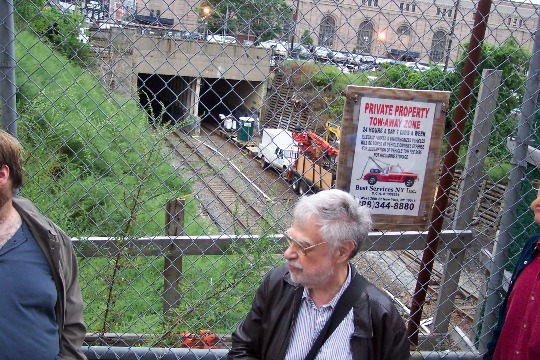 George Haikalis in front of Manhattan's little-used West Side rail line, August 2010. Photo: Wayne Fields.